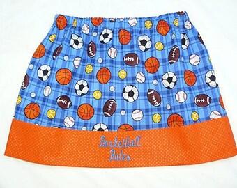 """Girls """"Basketball Rules"""" Skirt- size 6"""