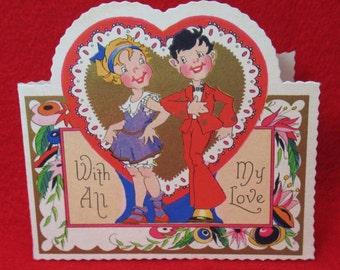 VALENTINE Card Vintage Ephemera Girl Boy LOVE HEART
