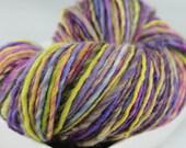 Purple Yellow Green Blue - 165 yds - Falkland Wool - Hand Spun Yarn