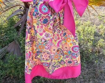 Pink Flower Print Pillowcase Dress