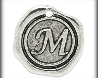 YOU CHOOSE 1 Monogram Initial Letter Stamped Wax Seal Charms . Silver Tone Metal 18mm .