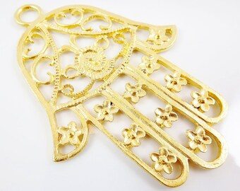 Extra Large Hamsa Hand of Fatima Pendant Charm - 22k Matte Gold Plated - 1PC