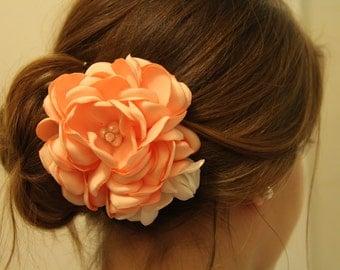 Coral and Ivory Gardenia Bridal Hair Clip