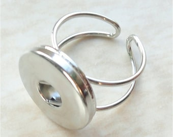 Interchangeabel Adjustable Silvertone Ring for Poppers/Chunks/Buttons