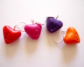 Valentine's day heart stitch markers, heart knitting markers, snagfree knitting, handmade markers, sculpted polymer clay - UK seller