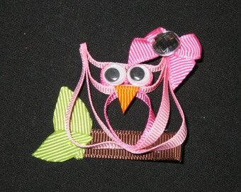 "NEW ""PINK OWL"" Ribbon Sculpture Girls Hairbow Clip Clippie Bow Boutique Summer"