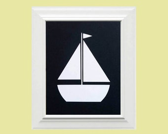 Custom Personalized Sailboat Picture, Children's Wall Art, Kid's Wall Art, Nursery Wall Art, Nautical Wall Art-Navy Blue, White