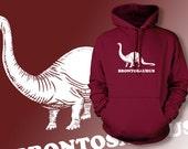 Brontosaurus Dinosaur Geek Nerd Science Screen Printed Hoodie Hooded Sweatshirt Mens Womens Ladies  Funny Geek Dinosaur Science Nerd School