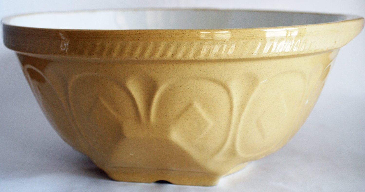 English Yellow Ware Mixing Bowl Gripstand By Bornagainhomeaccents