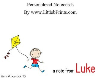 Stick Figure Boy Kite Note Cards Set of 10 personalized flat or folded cards