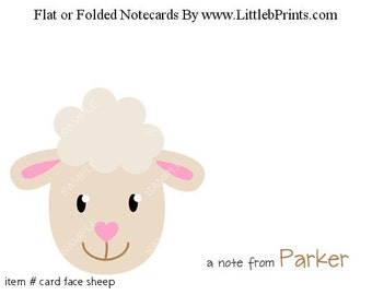 Animal Face Sheep Lamb Note Cards Set of 10 personalized flat or folded cards