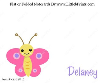 Butterfly Note Cards Set of 10 personalized flat or folded cards