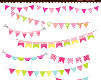 50% sale, bunting clip art , printable flags , Colourful bunting and flags 1, Digital clip art pink