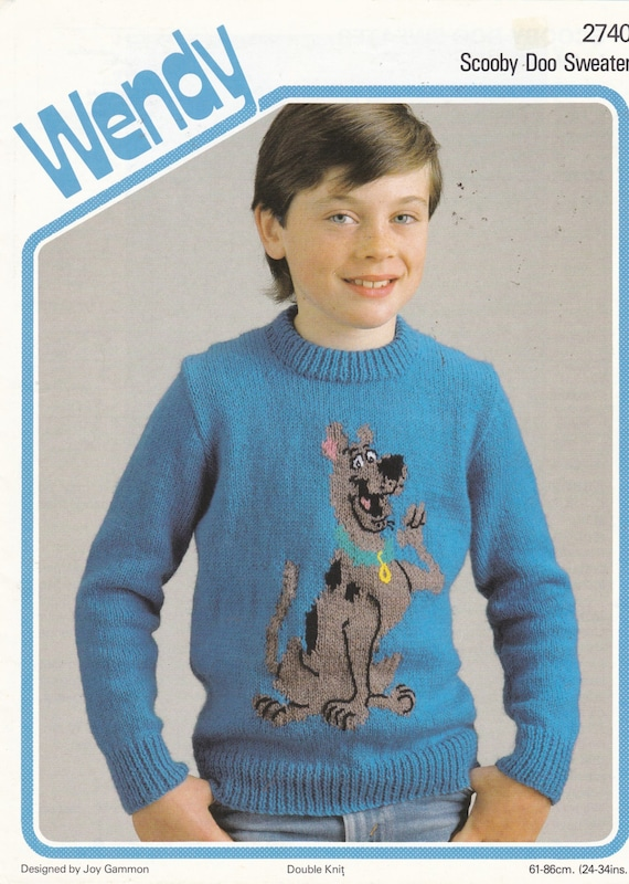 Knitting Pattern - SCOOBY DOO SWEATER to Graph Knit - Children sizes - chest 24 inches to 34 inches