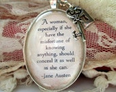 Jane Austen quote pendant necklace, Pride and Prejudice quote jewellery