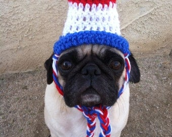 Hats for Dogs-Hats For Pugs-4th of July- Dog Top Hat-Crochet-Cute Dog Hats-Hats For Dogs-Pugs-funny dog hats-pet costumes-pugs in hats