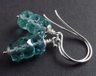 Sterling Silver Earrings - Stacked Czech Aqua AB Crystal Rondelles