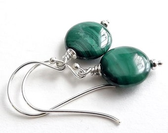 Sterling Silver Earrings with Malachite Coin Beads