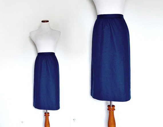 80s Pencil Skirt. Navy Blue Pencil Skirt. Dark Blue Skirt