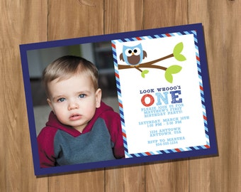 Sweet Owl Birthday Party Invitation with Photo - Look Whooo's One (Digital - DIY)