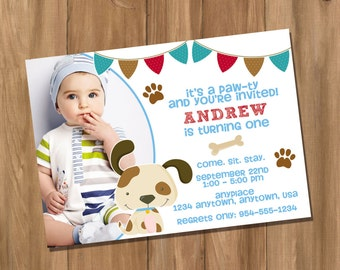 Puppy Dog Birthday Party Invitation with Photo (Digital - DIY)