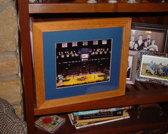 University of Kansas custom solid rustic cedar framed Allen Fieldhouse print oak finish country display wall hanging