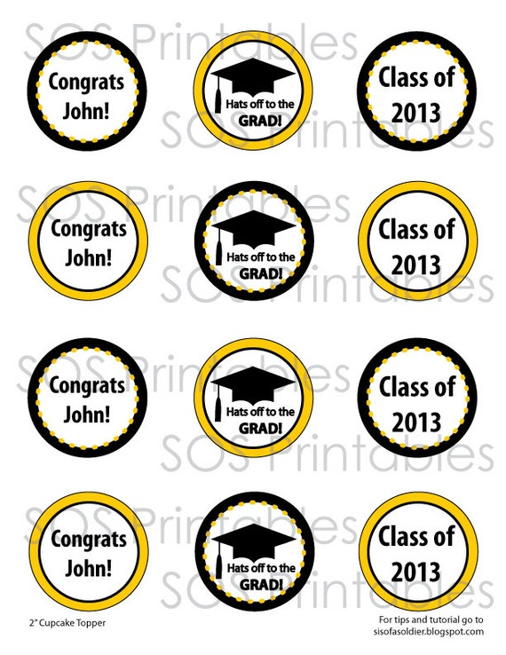 Graduation Cupcake Toppers 2 Printable Cupcake by ...