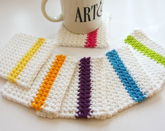 Mug Rugs in Bright Colorful Crochet Coasters, Home Garden Dining Entertaining Crochet Coasters