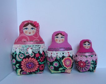 A Set of Pink&Black Soft Matryoshkas (cloth Russian babushka dolls)