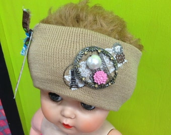 Girly Vintage Decorated/Embellished Beige Knit Headband Stretch Ear Warmer with Romantic Charms & Rose