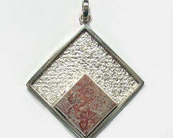 Handmade Crazy Lace Agate Pendant Sterling Silver One Of A Kind Modern Design Handcrafted Jewelry
