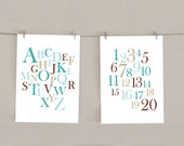 Alphabet & Numbers Nursery Decor Print Set - Teal blue and Brown, 5x7 (2)