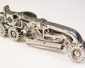 Vintage silver tone construction vehicle TIE BAR