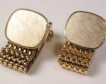 Vintage gold tone MESH WRAP CUFFLINKS, for initial Monogram, Men's Wedding Jewelry, Gentleman Formal Wear Groom Tuxedo Best Man Bling