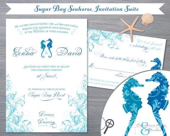 Elopement Wedding Invitations: Seahorse Wedding Invitation, Beach Wedding Invitations