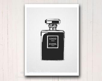 Original Art Print French Perfume Print Coco For Her Chanel Illustration Bathroom Wall Decor