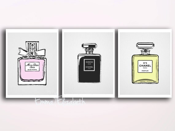 French perfume wall decor original illustrations by for Bedroom gifts for her