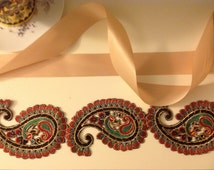 15% OFF MOVINF SALE - Bollywood Sash / Headband: Indian Handmade luxurious 3 paisley  appliqués  in black, gold, red, and turquoise blue