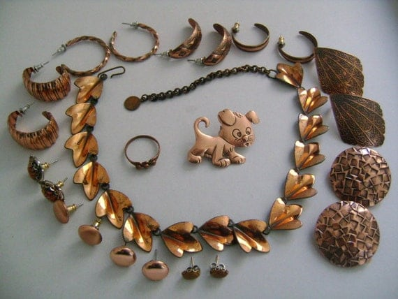 lot 13 pcs of vintage 70s 80s accessories jewelry all copper