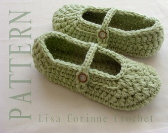 Crochet Slippers, Crochet Slippers PATTERN, Ladies Slippers, Crochet Shoes, Womens House Slippers, Mary Jane Slippers