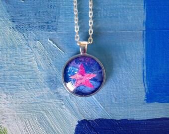 Ice Star Blue Metallic Round Pendant