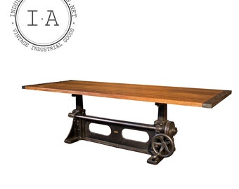 Vintage Industrial Adjustable Dining Room Kitchen Conference Table Hand-Made Elm Top Cast Iron Base 8 Feet