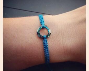 Handmade Macrame Bracelet w/ Swarovski Crystal Cosmic Ring