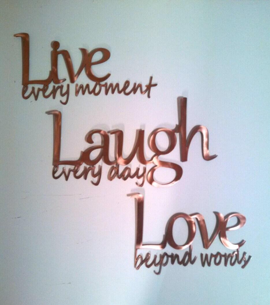 Live Laugh Love Metal Wall Art Copper
