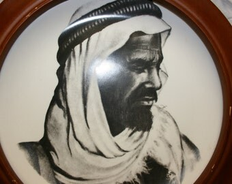 Vintage Sons of Arabia collector plate with wooden plate frame.