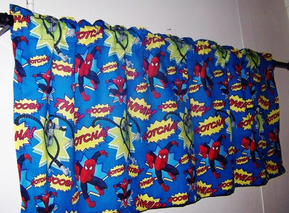 Valance Spider Man Blue Superhero Window Treatment For