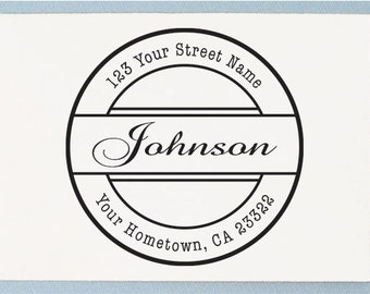 Custom address stamp, personalized address stamp - Circle Stamp Style - AA21