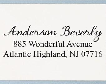 Calligraphy Address Stamp - Return Address Stamp - Custom Wedding Address Stamp - AS27