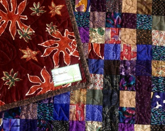 Brown and Purple Postage Stamp Quilt