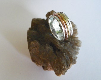 Hammered 2 band Sterling Silver and Brass,Cooper Spinner Ring- Stamped.925